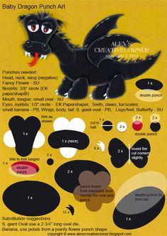 Alex's Creative Corner: Baby Dragon Punch Art Instructions dragons, punchart, creativ corner, dragon punch, babi dragon, punch art, art instruct, alex creativ, alex o'loughlin