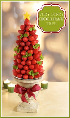 Make a BERRY tree! Cute for snacking and for decoration! Great centerpiece idea for the holidays!
