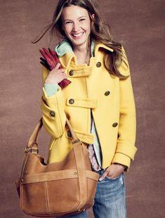 I really like the yellow coat and the handbag!