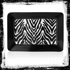 Serve your guests safari style on a zebra print serving platter. #AnnasLinens #AnimalPrint