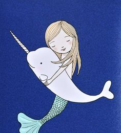 Mermaid Narwhal Love Illustration Print So Happy With by mikaart, $8.99