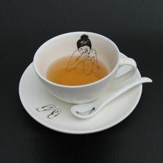 """Teacup lady."" On @Darcie Hartford Ballenger and FlirTea's tea blog, the Monday Novelty. Always fun to read."