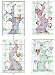 galleryru, tree cross stitch, cross stitch trees, crossstitch, cross stitch owls