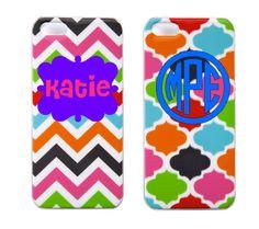 Monogrammed/Personalized Multi-Colored Chevron or Quatrefoil iPhone 5 Case