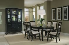 This is my dream dining room set (well the table and chairs)!  I have sat in the chairs in the showroom and they are really comfortable too! The table and 4 chairs are only $899.99 #decor #home #furniture