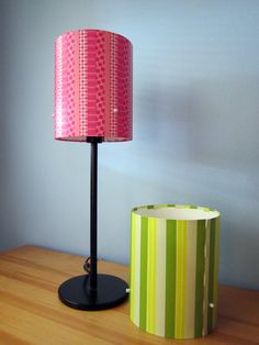 Kooky Mod Striped Lampshades by BiggerOrangerCat on Etsy