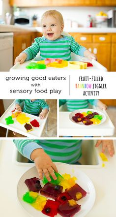 What a fun St. Paddy's Day activity for baby plus an easy way to introduce babies to new texture.  Who couldn't resist fun jello colors.  And hiding fruit and veggies in the jello is genius! #spon
