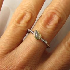 Rose Cut Diamond Twig Ring - 18k Yellow Gold and Sterling Silver - Engagement Ring. $238.00, via Etsy.
