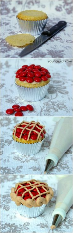 "Cherry Pie Cupcakes Recipe ~ with Red M & M ""cherries"" on top"