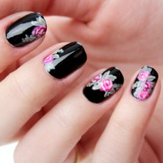 black style, pink roses, pink flowers, floral prints, flower nails, summer nails, nail arts, black nails, black roses