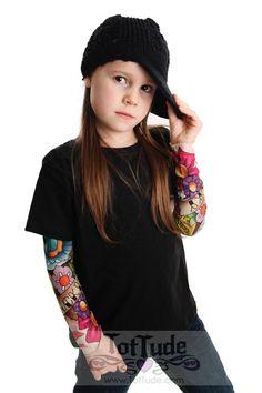 Tattoo Sleeve Flower Bird Black Shirt for Girls