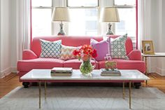 What do you think: pink sofa, yes or no?  [Via Design Darling: CAITLIN WILSON IN MATCHBOOK] #pink #sofa #color