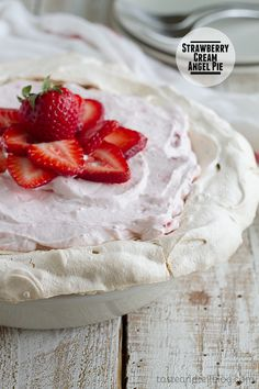 Strawberry Cream Angel Pie on Taste and Tell sugar pie, pie crusts, strawberry cream angel pie, strawberry pie, pie recipes, strawberri cream, dessert