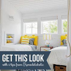 Get This Look: Sunny Shared Bedroom for Boys or Girls | 6 Tips for a Gender-Neutral Bedroom from Remodelaholic.com #getthislook #sharedbedroom #genderneutral #kidsroom