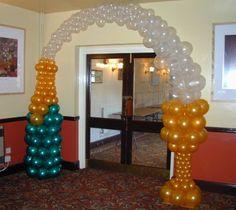 balloon arch, balloon decorations, wine bottles, champagn bottl