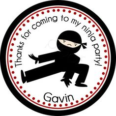 Ninja 2 Personalized Stickers  Party Favor Labels by partyINK, $6.00