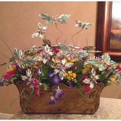 Another money bouquet I just finished. My spring butterfly arrangement with $50.00 in dollar bills.  So pretty!!