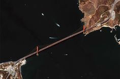 """San Francisco, CA  The Golden Gate Bridge is listed as one of the """"7 Wonders of the Modern World"""".  Also, one of the most photographed bridges in the world.  This view is as seen from space."""