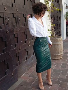 White blouse, leather pencil skirt - work wear