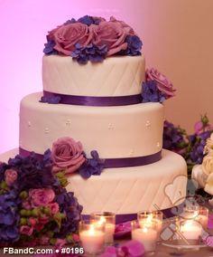"Design W 0196 | Fondant Wedding Cake | 16""+12""+8"" | Serves 170 | Satin Ribbon, Fresh Flowers  | Standard Price"