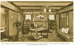 Living Room Fireplace with Bookcases from 1915 pre-finished woodwork brochure. Nice frieze too.