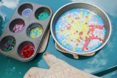 Melt plastic pony beads in cake pans or muffin tins to create beautiful suncatchers.