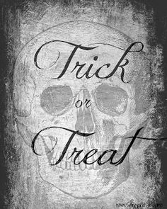 Free Halloween Scary Skull Trick or Treat Printable