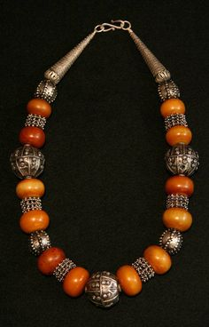Dorian Rae collection Designs | Old Yemen Silver beads are combined with Nigerian amber (copal) beads from the African Trade