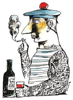 ⚓ #Lobster #anchor #navy #sailor #marinheiro #lagosta #âncora  ⚓ #poster #weLoveDesign #mermaid #sereia #ancre #sea #ocean #mar #oceano #boats #nautical #Illustration #Marinero Tattooed Sailor by Paul Bommer, via Flickr