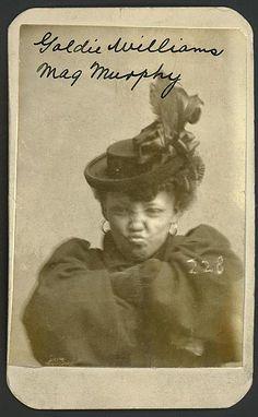 Mug shot: Goldie Williams, alias Meg Murphy. Vagrancy, Omaha, Nebraska, 1898