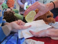 Tasting lemons and other fruits and vegies as a Sensory Exploration along with an Art follow-up from Teach Preschool