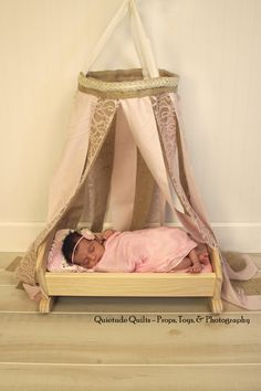 Pale Pink Newborn Canopy - Burlap and Lace Baby Prop Canopy, Burlap Newborn Canopy Prop. $40.00, via Etsy.