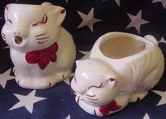 cat creamer and sugar bowl