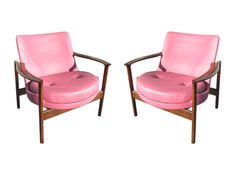 Machine Age | Pair of Rosewood and Leather Armchairs