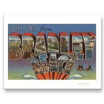 Bradley Beach, New Jersey - Large Letter Scenes Post Cards by LanternPress
