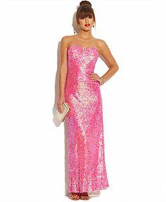 As U Wish Juniors' Strapless Sequin Dress