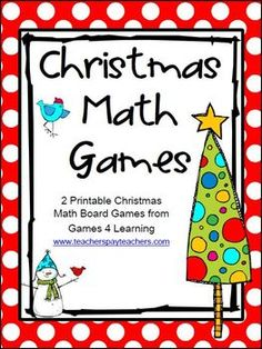 FREEBIE - Christmas Math Games by Games 4 Learning contains 2 printable Christmas Math Board Games
