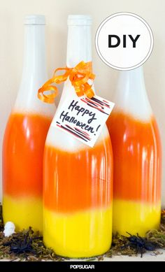 Get Ready For Halloween With DIY Candy Corn Wine Bottles