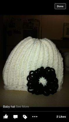 Loom knitted infant hat easy and great gift idea