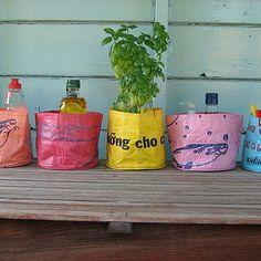 upcycled rice bag pots