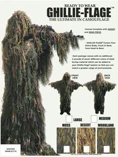 A complete ready to wear ghillie suit designed for an upright stalk. This ghillie suit is a one piece full-length jacket that covers from head to boot. Single ply jute/burlap material is tied into 3/4 inch netting. Comes with two additional pounds of jute/burlap material, dyed in seven colors to create the freedom to modify the suit. Also included are two applications of fire retardant.
