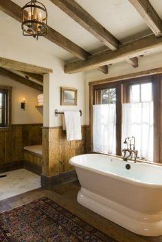 A bathroom design, lodg, exposed beams, country bathrooms, tub, ceiling beams, rustic bathrooms, natural wood, wood beams