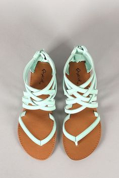 mint strappy sandals.
