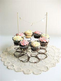 Vintage Metal Spring Repurposed Cupcake Stand by lovintagefinds, $ 39.00