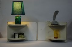 Fab funky 1950s/60s bedside shelves with cool set dressing.
