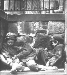 "Children sleeping on Mulberry St 1890Harold Evans, author of The American Century: People, Power and Politics (1998) pointed out: ""Jacob Riis estimated that Dickensian London had 175,816 people living on every square mile of its worst slums but New York's Lower East Side by the nineties in contrast, had about 290,000 per square mile, making it perhaps the worst slum in the history of the Western world.... He records a tenement block with/1,324 Italian immigrants living in a total of 132 rooms."