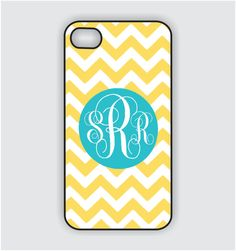 iPhone 4 Case - Turquoise Blue Monogram on Yellow Chevron  iPhone Case, iPhone 4s Case, Cases for iPhone 4, iPhone 4 Cover. $17.99, via Etsy.