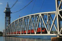 Cape Cod Canal Railroad Bridge Train Photograph  - Fine Art Print