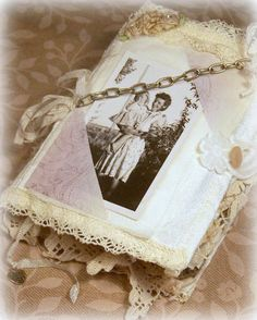 Fabric Journal, Lace Scrapbook, SPECIAL TIMES, Hobbies,Lace pockets, fabric pages,