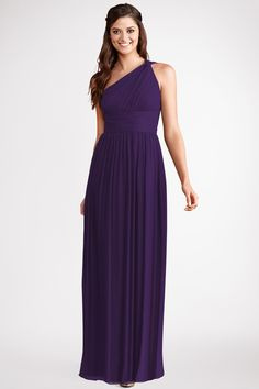 Subtle ruching highlights this flowy one  shoulder amethyst chiffon  dress  with a  flattering set  in  waist and floor  length skirt.